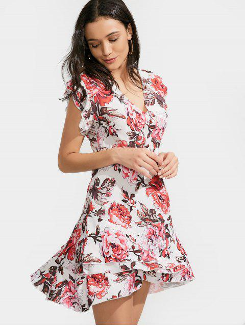 womens Ruffles Layered Floral A-Line Dress - FLORAL S Mobile