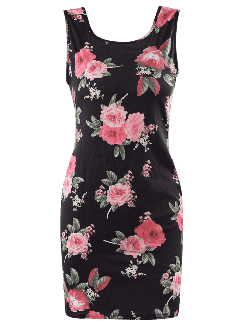 outfit Flora Print Scoop Neck Sleeveless Bodycon Dress - BLACK 3XL Mobile