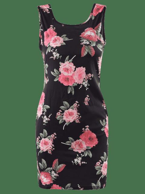 Flora Imprimer Scoop Neck manches Robe moulante - Noir 2XL Mobile