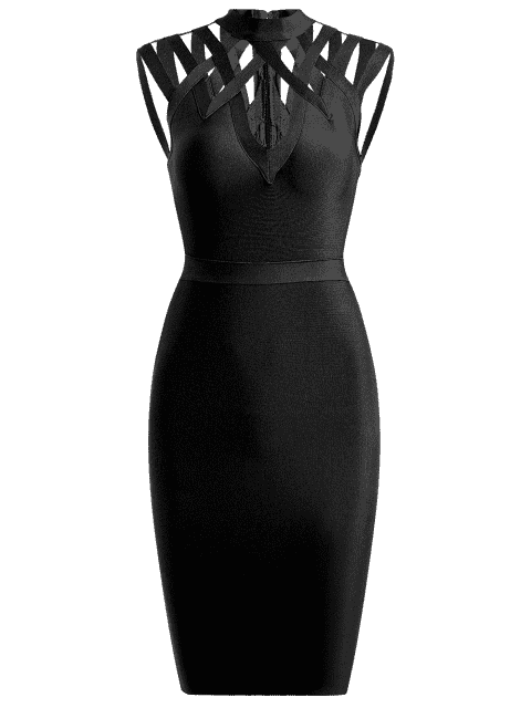 affordable High Neck Cut Out Bandage Dress - BLACK L Mobile