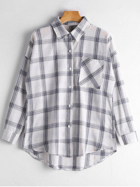 outfit Button Up Longline Checked Pocket Shirt - CHECKED M Mobile