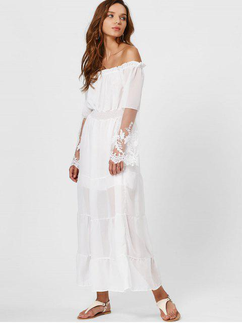 buy Ruffles Smocked Off Shoulder Maxi Sheer Dress - WHITE M Mobile