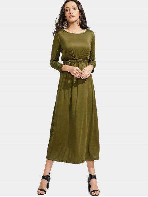 hot Long Sleeve Elastic Waist Maxi Dress - ARMY GREEN L Mobile