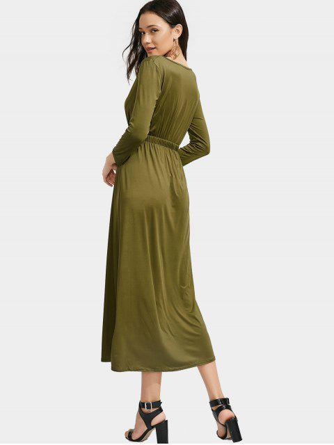Manga larga elástico cintura maxi vestido - Ejercito Verde S Mobile