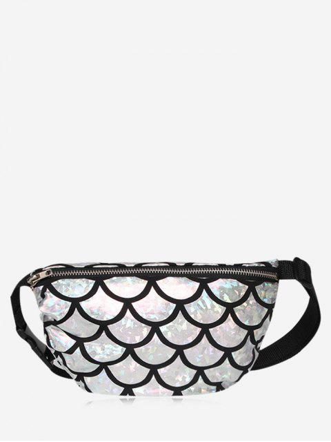 online Zipper Scale Pattern Fanny Pack - SILVER  Mobile