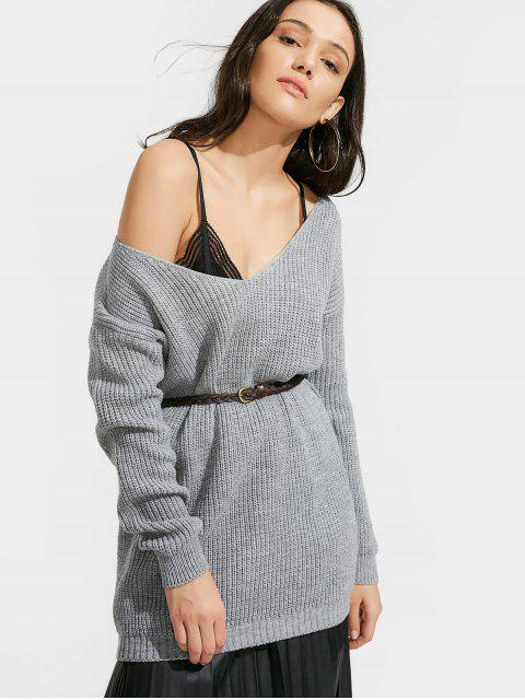 outfit Oversized V Neck Chunky Sweater - GRAY ONE SIZE Mobile