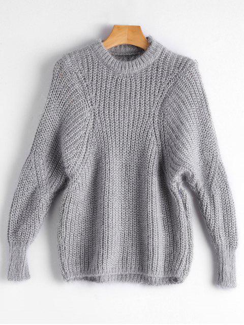 Einfacher Pullover mit Dolman Hülse - Grau Eine Größe Mobile