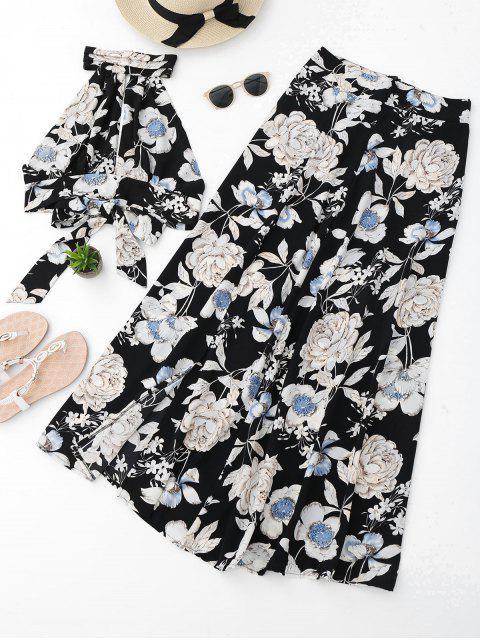 fancy Floral Crop Top and Slit Skirt Set - BLACK L Mobile