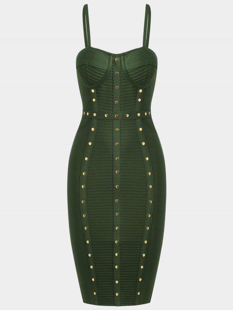 Vestido de vendaje Cami adornado - Verde del ejército L Mobile