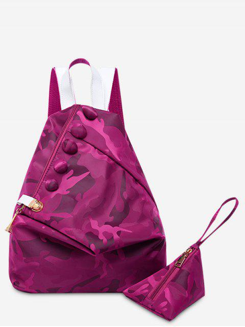 women's Buttons Camouflage Pattern Backpack - VIOLET  Mobile