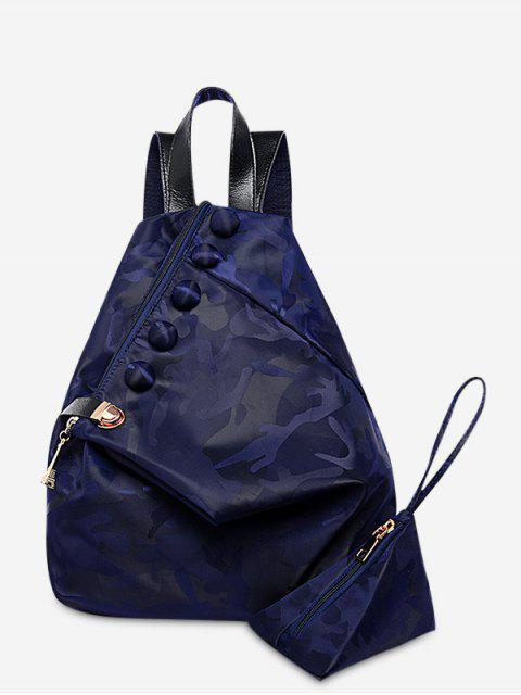 best Buttons Camouflage Pattern Backpack - DEEP BLUE  Mobile