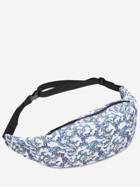 Cremallera Animal Print Fanny Pack - Blanco  Mobile