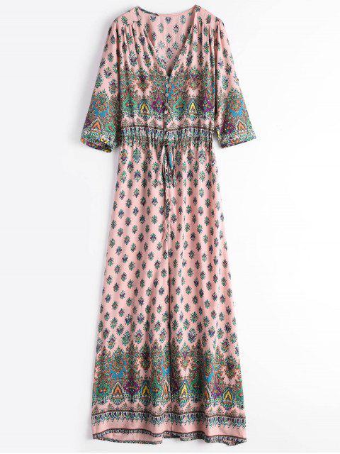 Printed Slit Button Up Maxi Dress - Rosa M Mobile