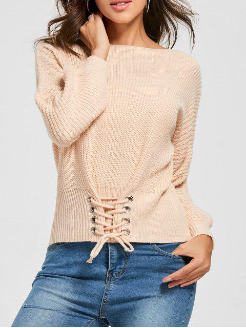 women's Boat Neck Lace-up Sweater - ORANGEPINK ONE SIZE Mobile