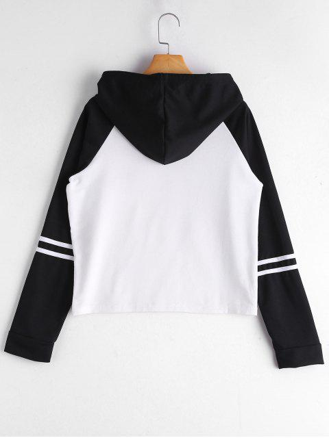 ladies Floral Patched Raglan Sleeve Hoodie - WHITE AND BLACK L Mobile