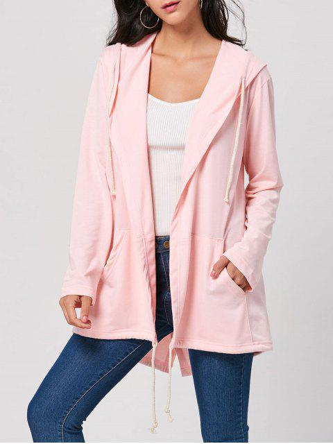 shop Drawstring Long Hooded Coat - PINK XL Mobile