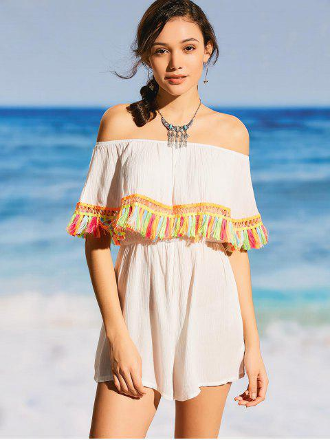 trendy Tassel Off The Shoulder Beach Romper - WHITE S Mobile
