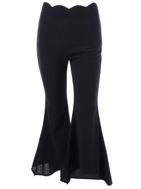 Pantalones Flare con Bordes Scalloped - Negro XL Mobile