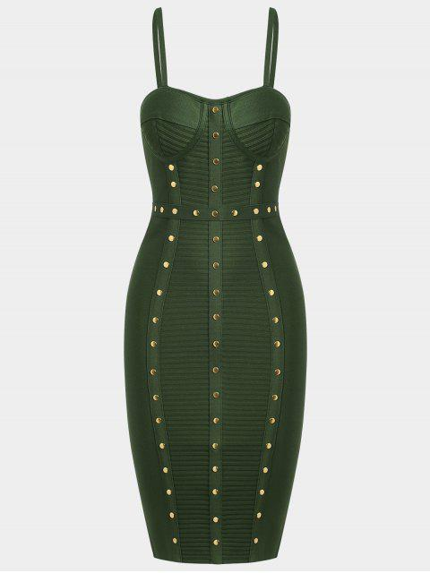 best Embellished Cami Bandage Dress - ARMY GREEN L Mobile