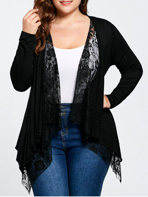 chic Plus Size Lace Panel Cardigan - BLACK 3XL Mobile