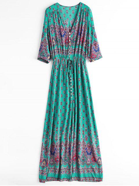 Printed Slit Button Up Maxi Dress - Verde Claro XL Mobile