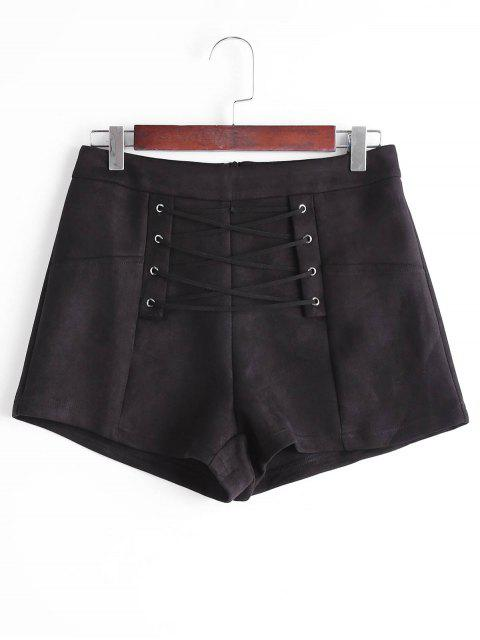 latest High Waisted Lace Up Shorts - BLACK S Mobile