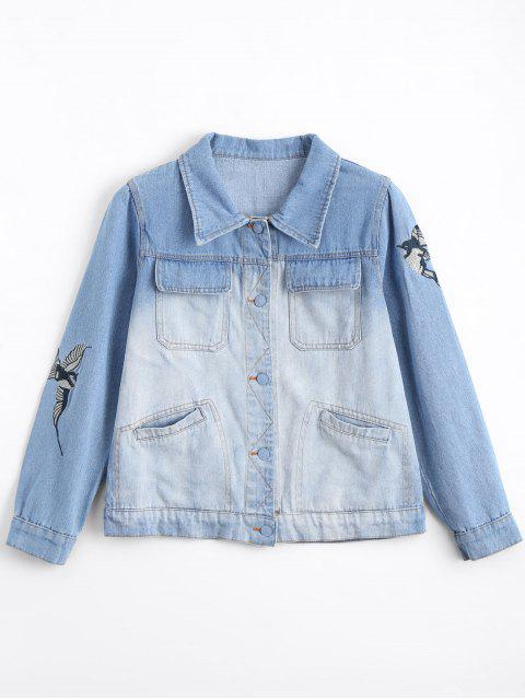 shops Ombre Bird Embroidered Denim Jacket - DENIM BLUE L Mobile