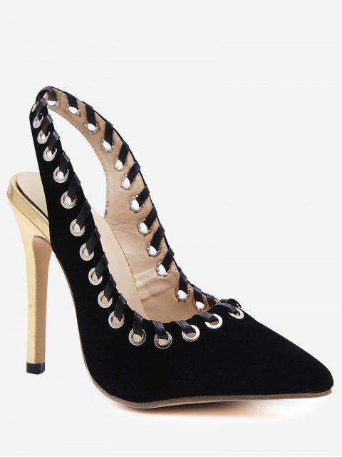 buy Slingback Pointed Toe Grommet Stiletto Heel Pumps - BLACK 39 Mobile