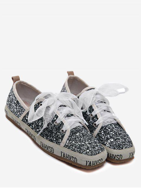 womens Sequined Square Toe Sneakers - GRAY 37 Mobile
