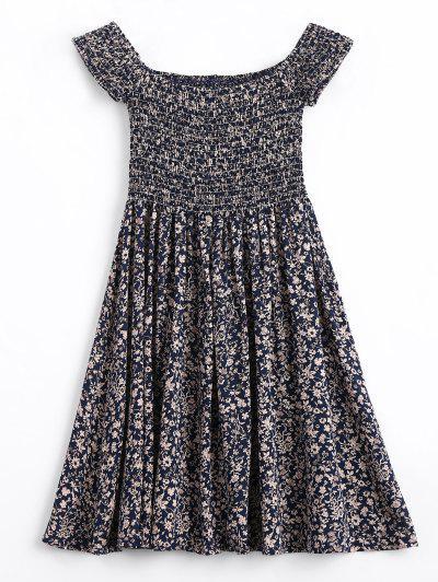 Zaful Tiny Floral Smocked Off Shoulder Mini Dress PURPLISH BLUE