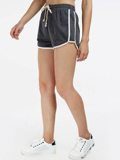 Drawstring Contrast Trim Gym Shorts - Deep Gray S