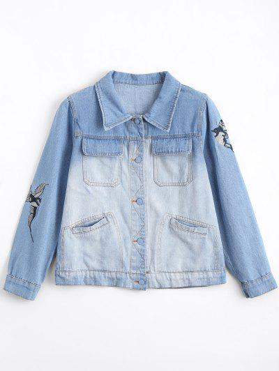 Bird Embroidered Ombre Jean Jacket