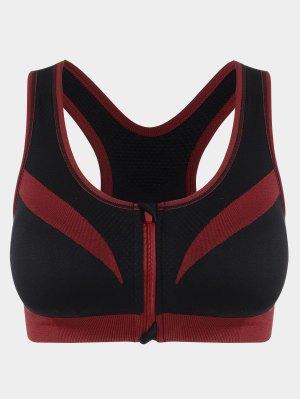 Zip Up Two Tone Sports Bra - Rouge Et Noir - Rouge Et Noir S