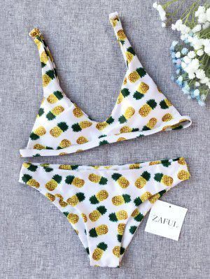 Bikini De Corte Bajo De Impresión De Piña - Blanco S