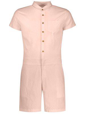 Short Sleeve Single Breasted Romper
