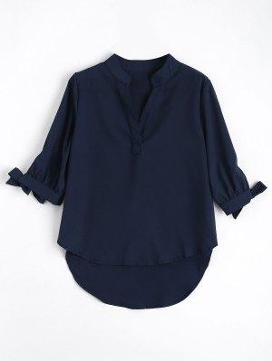 Bow Tied Sleeve High Low Blouse - Azul Arroxeado S