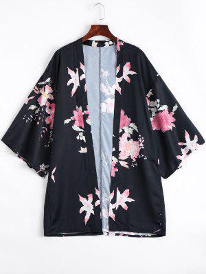 Blusa De Quimono Da Flor Dianteira Aberta - Floral S