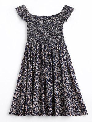Tiny Floral Smocked Off Shoulder Mini Dress - Purplish Blue L
