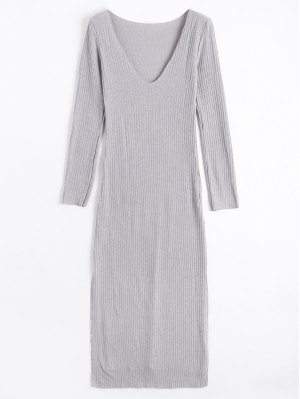 De Manga Larga Con Nervaduras Slit Knitting Dress - Gris M