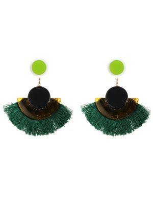 Tassel Bohemian Clip On Earrings - Green
