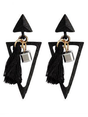 Metal Triangle Bohemian Tassel Earrings - Preto