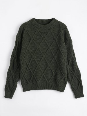 Suéter Transparente De Diamante Suelto - Verde Del Ejército - Verde Del Ejército