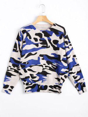 Casual Loose Camouflage Sweater - Blue