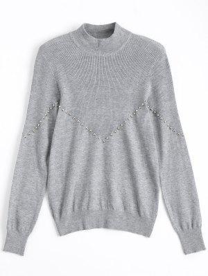 Metallic Button Mock Neck Sweater - Gray