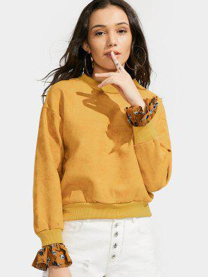 Casual Loose Floral Panel Sweatshirt - Yellow
