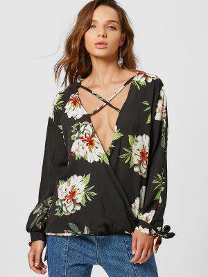 Blusa De Sobrecarga Floral Strappy De Corte Baixo - Preto Xl