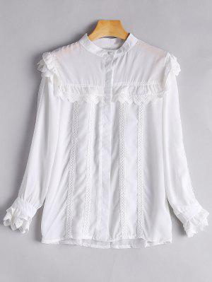 Alto-pescoço Zigzag Hem Button Up Pouse - Branco