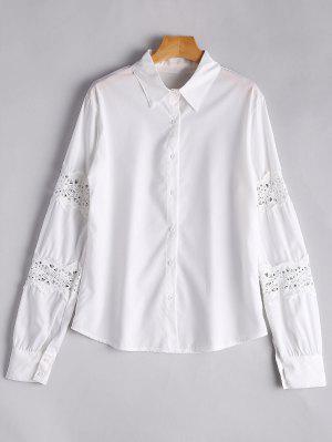 Button Up Lace Panel Shirt - White - White Xl