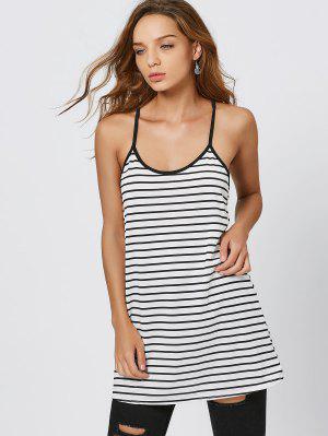 Cami Striped Summer Mini Dress - White And Black L