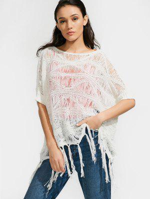 Oversized Tassels Crochet Knitwear - White